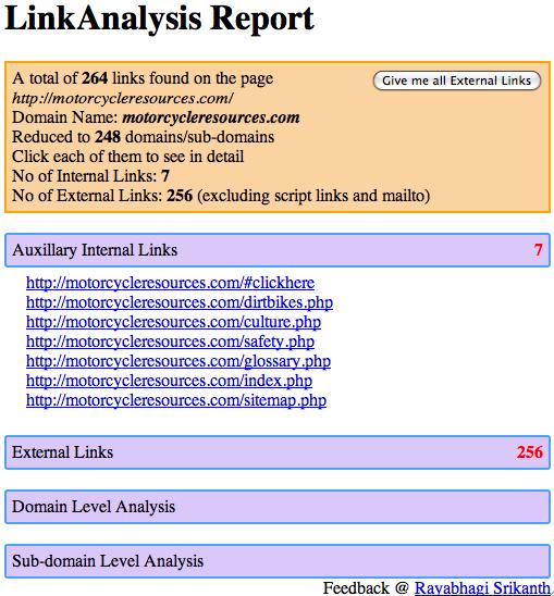 LinkAnalysis results