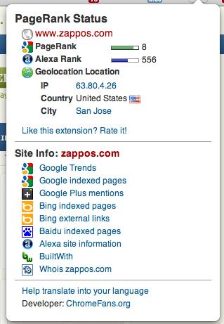 PageRank Status Check on Zappos.com