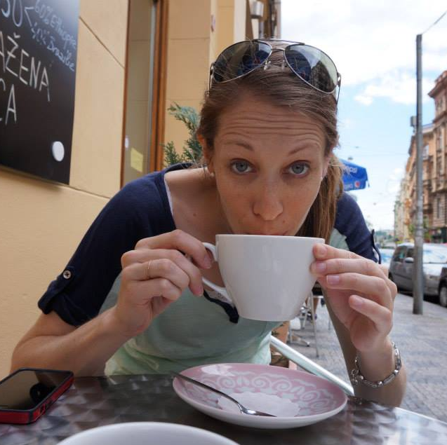 Jess Hill enjoying a latte in Prague